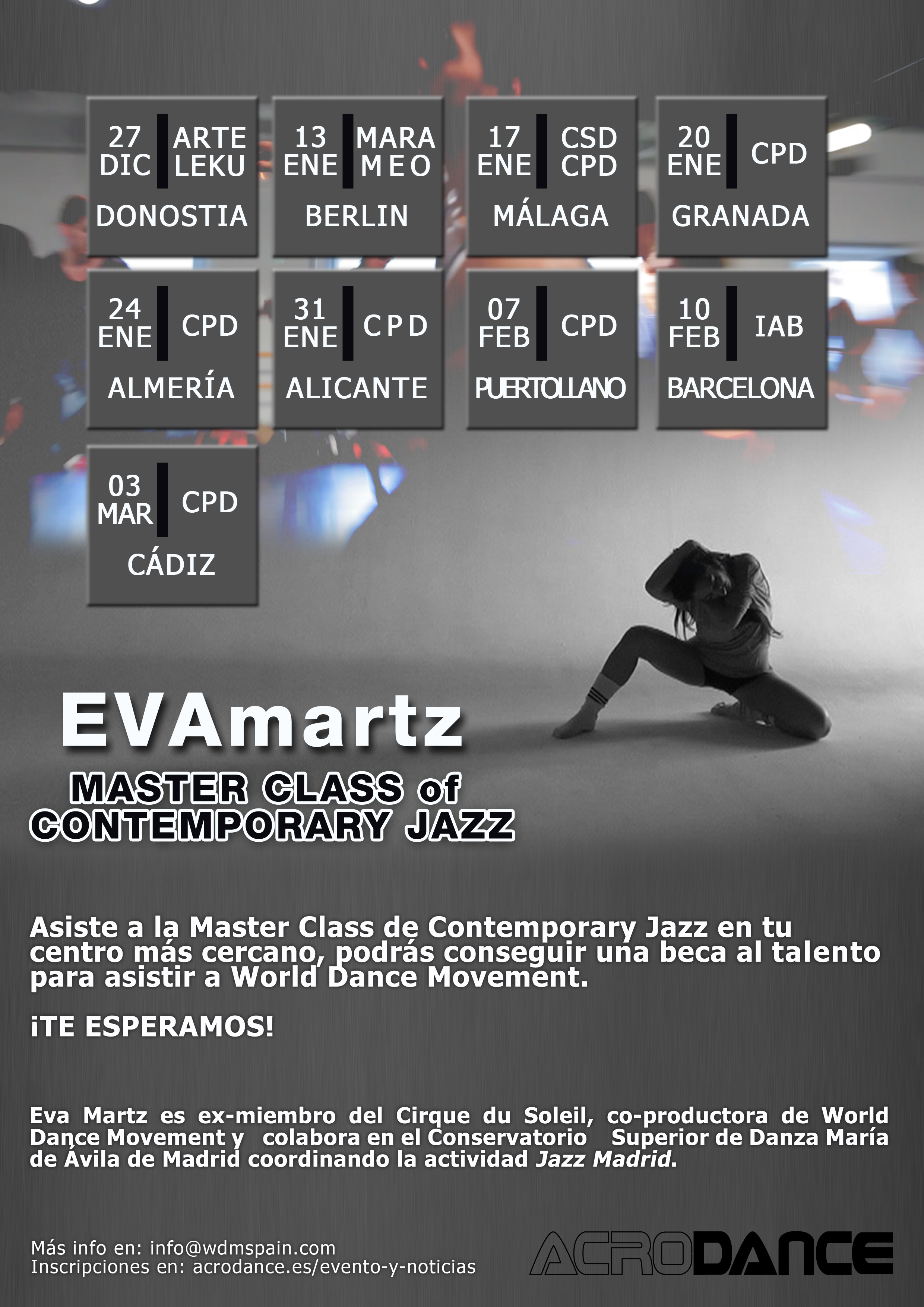 Calendario de Audiciones World Dance Movement. Clase Magistral EvaMartz